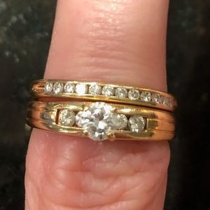 GIA Appraised Gold Diamond Engagement Ring Set